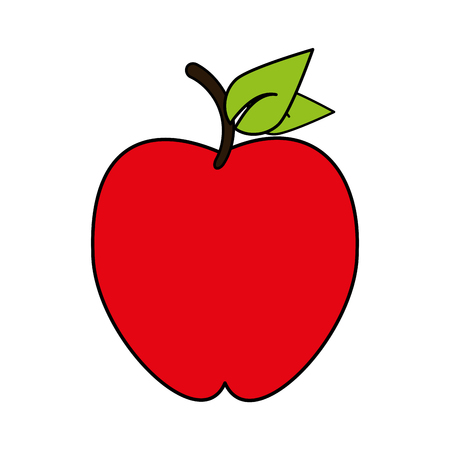 market gardening: Red apple over white background vector illustration