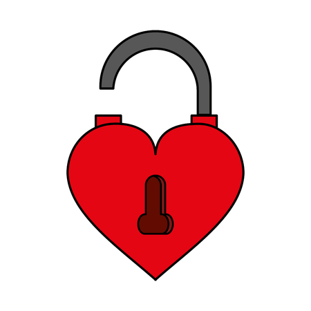 Heart shaped lock over white background vector illustration Illustration