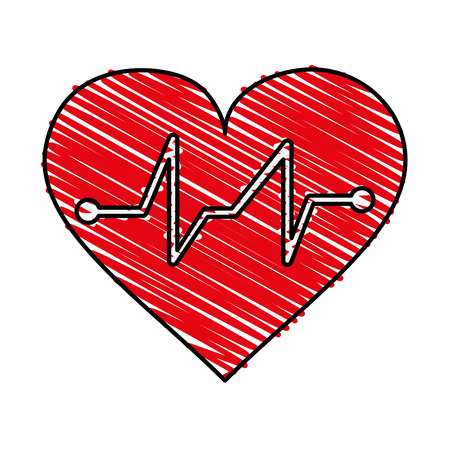 systole: Heart and electrocardiogram doodle over white background vector illustration Illustration