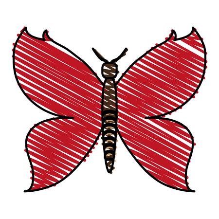 Red butterfly doodle vector illustration Illustration