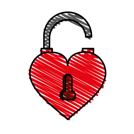 Heart shaped lock doodle over white background vector illustration.