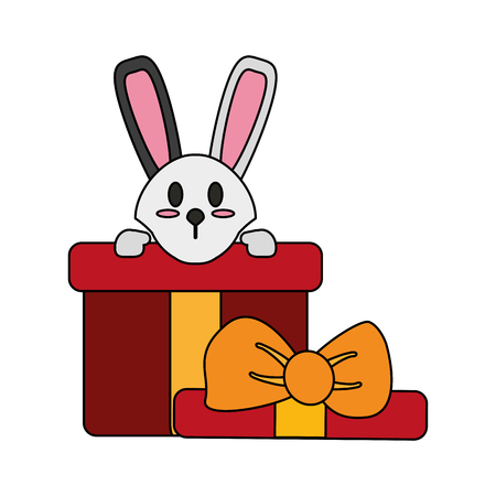 Colorful bunny in giftbox over white background vector illustration