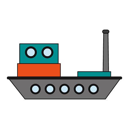 flotation: Colorful cargo ship over white background vector illustration Illustration