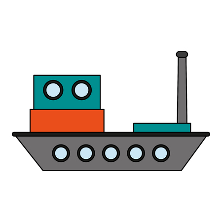 Colorful cargo ship over white background vector illustration Illustration