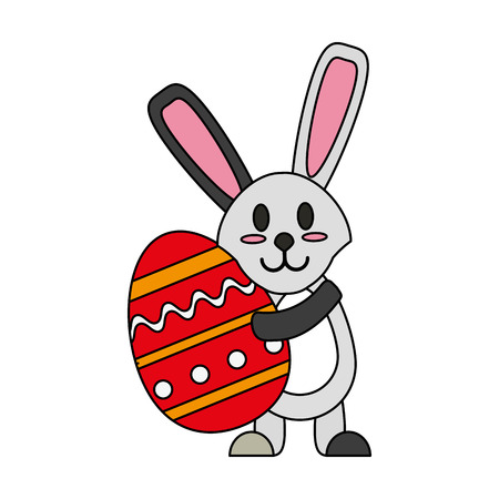 hid: Bunny and easter egg over white background vector illustration