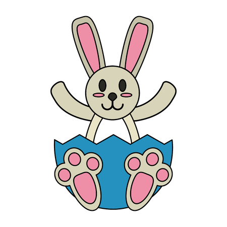 hid: Bunny in easter egg over white background vector illustration