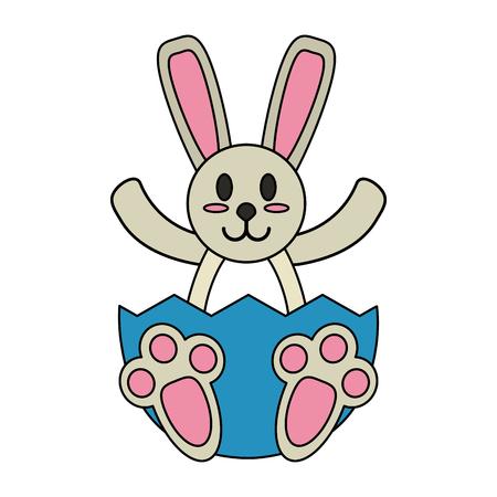 Bunny in easter egg over white background vector illustration