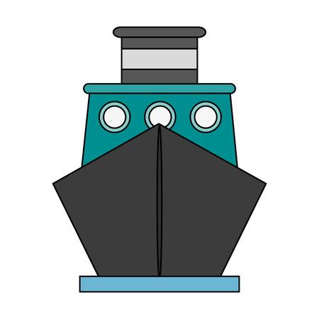 flotation: Colorful ship over white background vector illustration Illustration