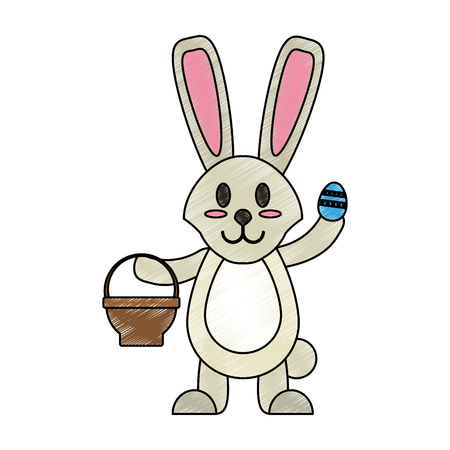 Bunny with easter egg and basket doodle over white background vector illustration