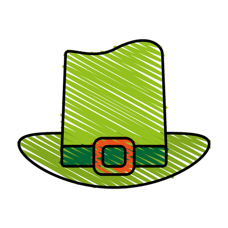 Leprechaun hat doodle over white background vector illustration