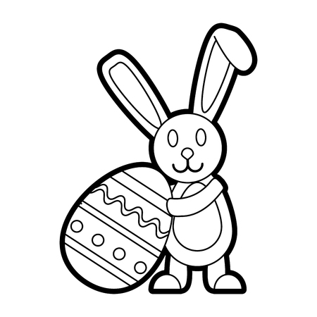 Flat line uncolored bunny with easter egg over white background