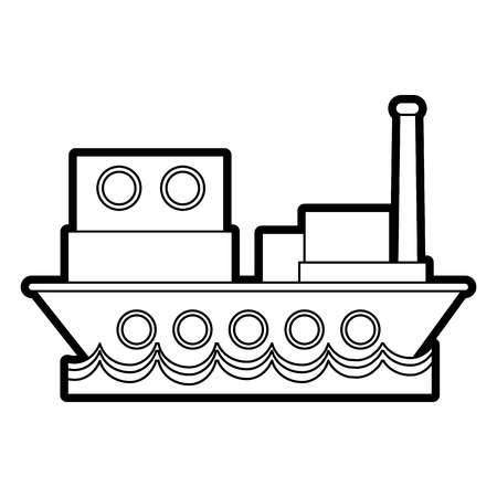 Flat line uncolored ship over white background