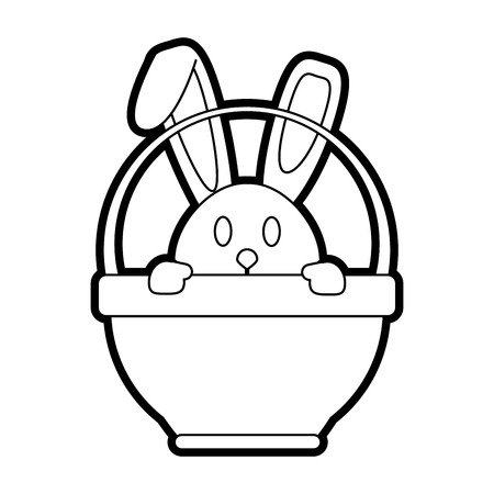 Flat line uncolored bunny in basket over white background