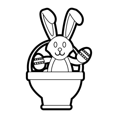 Flat line uncolored bunny with easter egg in basket over white background
