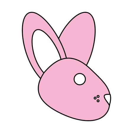Flat line bunny face with a hint of color over white background