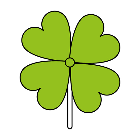 hint: Flat line four leaves clover with a hint of color over white background