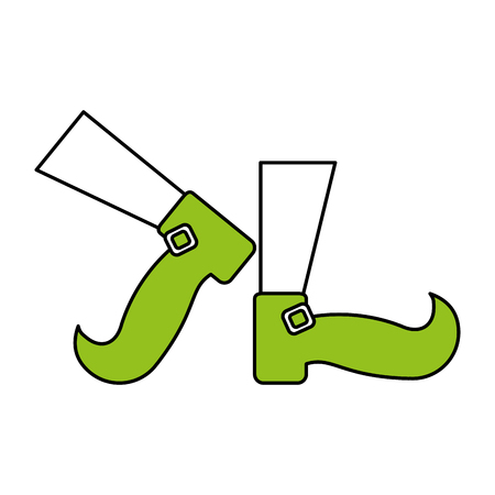 hint: Flat line leprechaun feet with a hint of color over white background