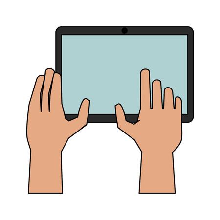 hands with tablet icon image vector illustration design Illustration
