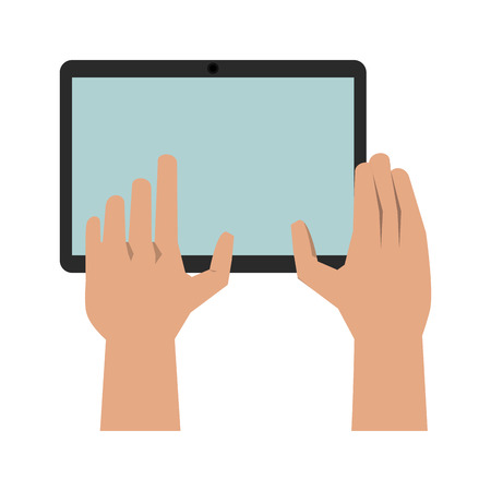 touchpad: hands with tablet icon image vector illustration design Illustration