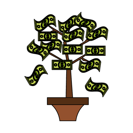 tree with dollar bill money icon image vector illustration design