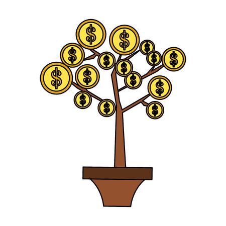 coin tree money icon image vector illustration design Illustration