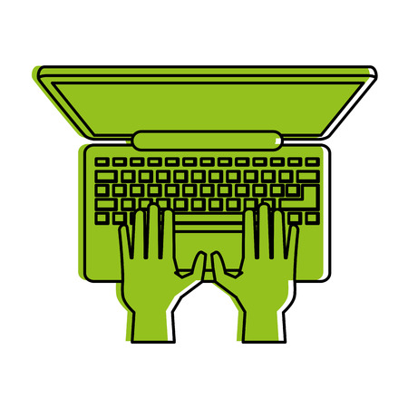 A hands typing on laptop computer topview icon image vector illustration design  one color green.