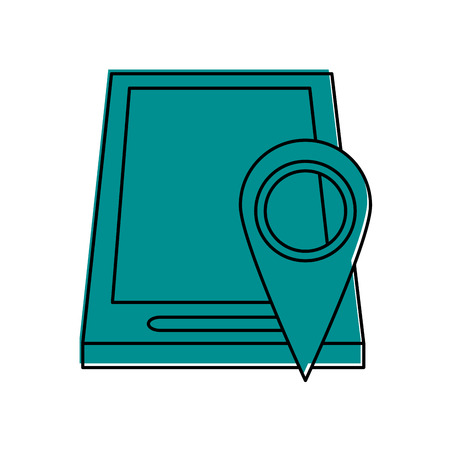 gps device: gps location pin with smartphone  icon image vector illustration design  one color blue