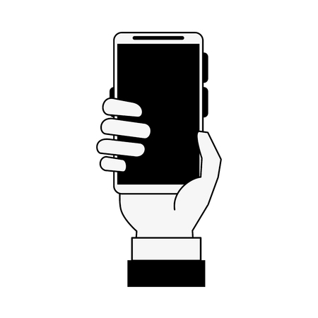 responsive: hand holding smartphone with blank screen icon image vector illustration design  black and white