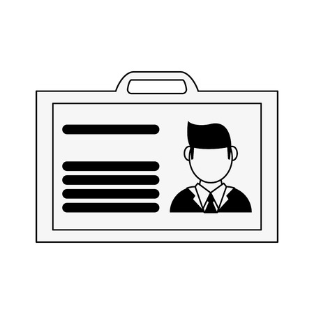 a work id card icon image vector illustration design  black and white illustration.