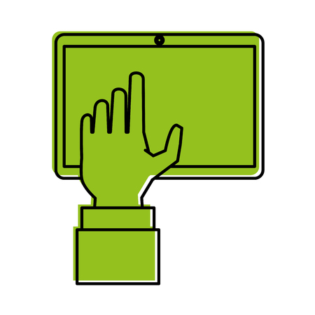hand with tablet icon image vector illustration design  one color green