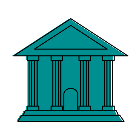 Ancient greek building icon image vector illustration design  one color blue illustration.