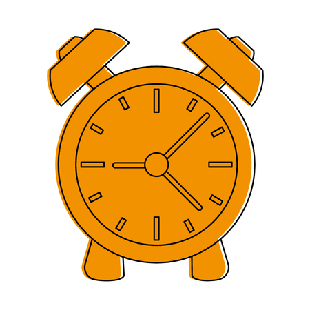 An analog alarm clock icon image vector illustration design  one color yellow.