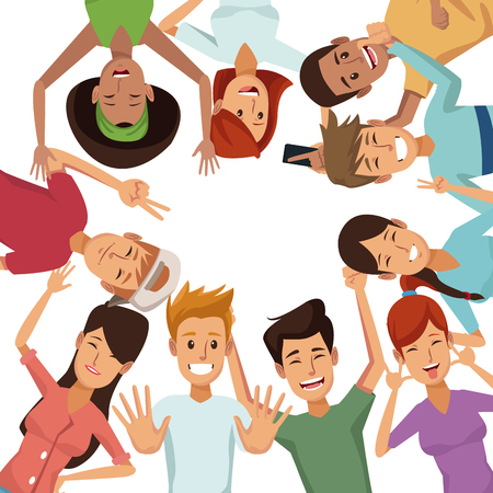 white background with colorful group of friends posing vector illustration