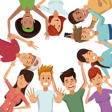 fondo blanco con grupo colorido de amigos viendo ilustración vectorial