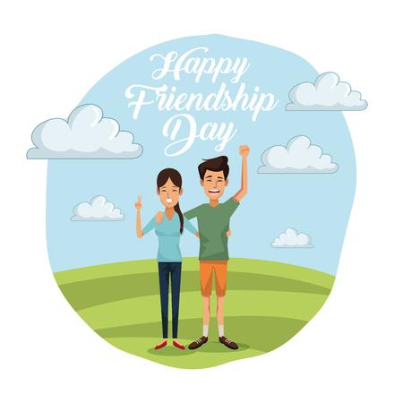 kleurrijke kaart van gelukkige vriendschapsdag met paar in openlucht in zonnige dag en haar met lang haar en hem in korte broek vectorillustratie Stock Illustratie