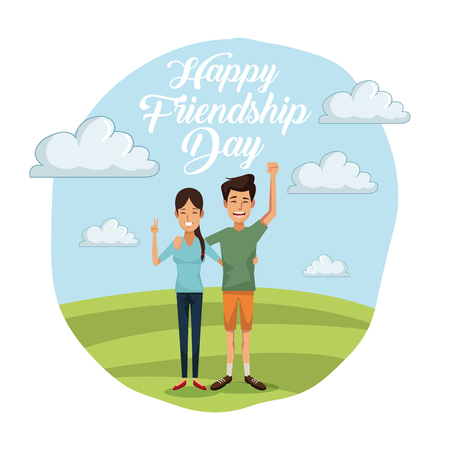 colorful card of happy friendship day with couple outdoors in sunny day and her with long hair and him in short pants vector illustration
