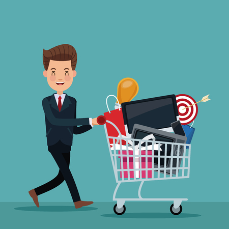 color background of executive man with shopping cart vector illustration