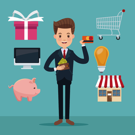 color background of executive man with icons elements of investment and shopping vector illustration