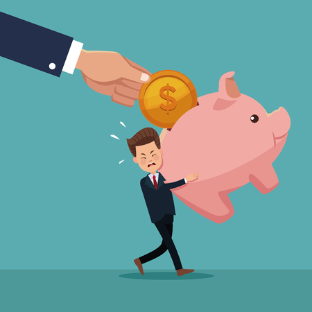 color background of businessman carrying a piggy bank with hand depositing a coin inside vector illustration