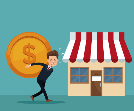 color background of executive carrying big coin with shopping store vector illustration