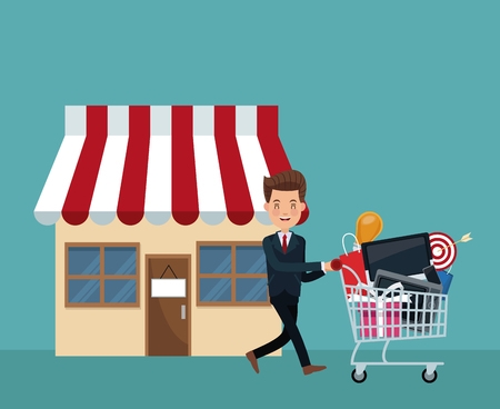 color background scene of businessman coming out of store with shopping cart vector illustration