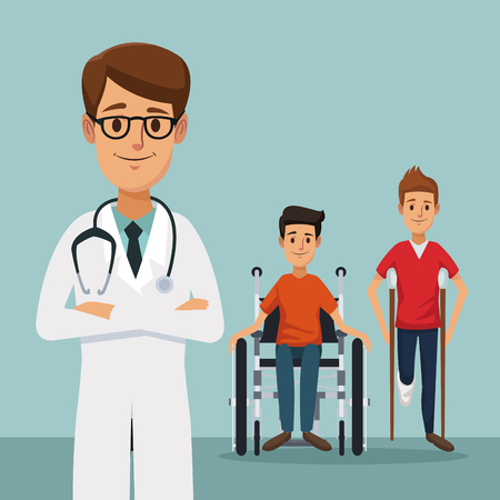Specialist doctor with men on crutches and handicapped in wheelchair. Vectores
