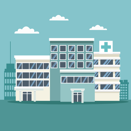 city landscape scene background with buildings and hospitals vector illustration  イラスト・ベクター素材