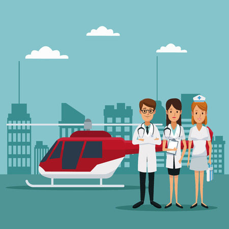 city landscape color background with rescue helicopter and staff specialist doctors vector illustration