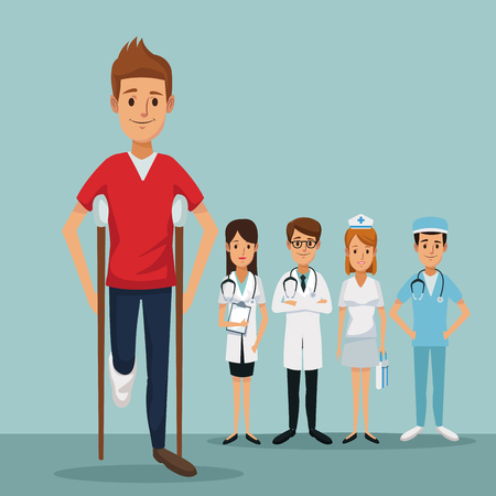 color background group team specialist doctors with closeup handicapped man on crutches vector illustration