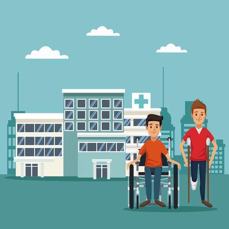 救急車トラックと松葉杖のベクトル図に車椅子の患者を都市景観色の背景
