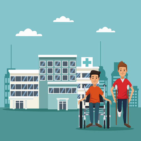 city landscape color background with ambulance truck and patients in wheelchair on crutches vector illustration