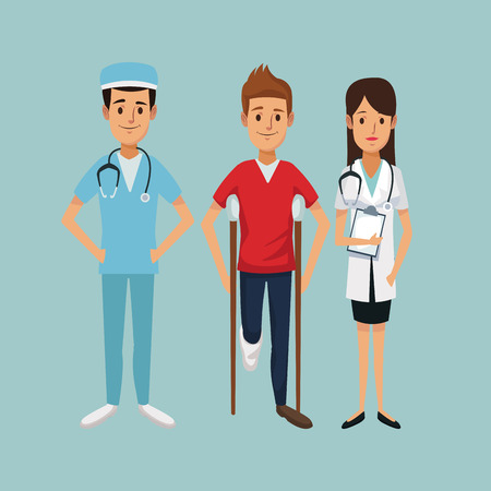 color background with man on crutches and team specialist doctors vector illustration