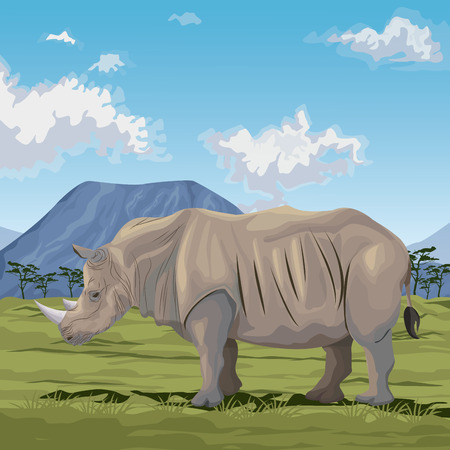 colorful scene african landscape with rhino standing vector illustration