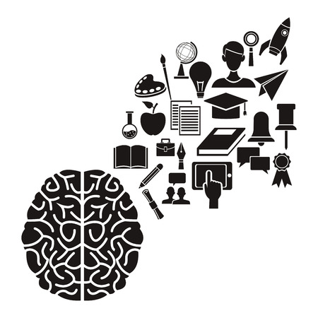 white background with black silhouette of brain human with floating elements academic knowledge vector illustration